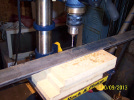 Drilling the base of the Y-beams for the KRMx01 CNC.