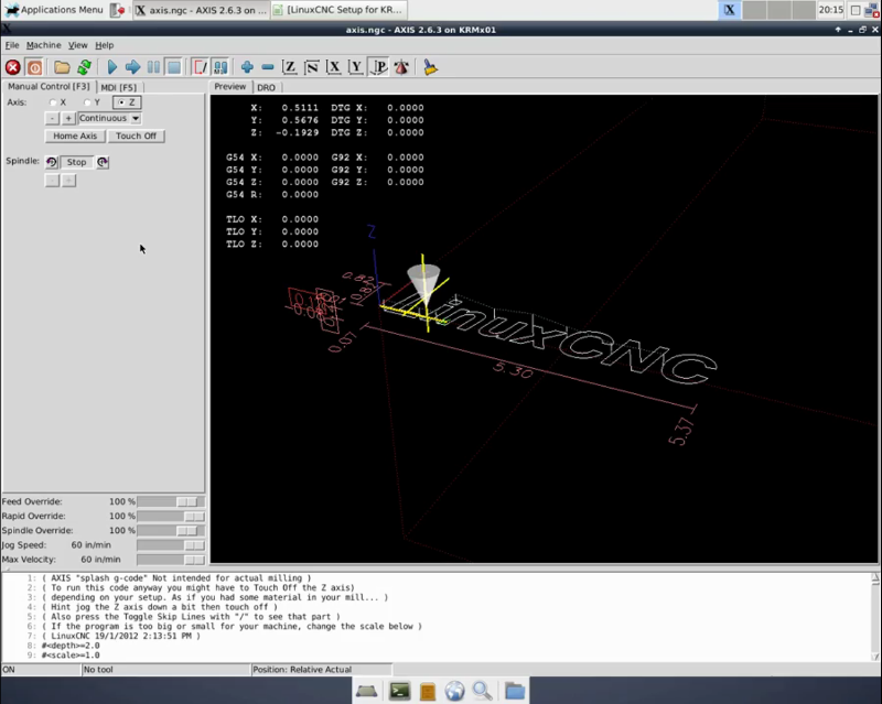 KRMx01 running on LinuxCNC.